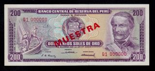 Peru Specimen 200 Soles 1968 (muestra) Pick 96s Unc Less. photo