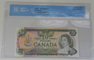 1979 Bank Of Canada $20 Note Cccs Certified Unc - 67 Gem Uncirculated photo