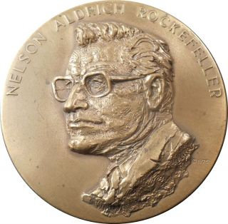 Scarce Official Rockefeller Vp Bronze Inaugural Medal By Frank Eliscu,  Maco photo