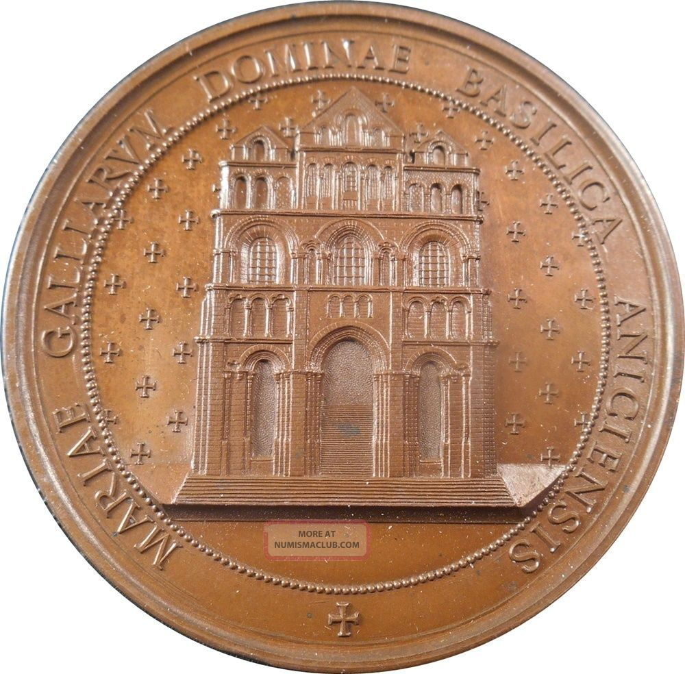 Xrare French Copper Medal Basilica Of Our Lady Of The Puy In Navarre Exonumia photo