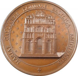 Xrare French Copper Medal Basilica Of Our Lady Of The Puy In Navarre photo
