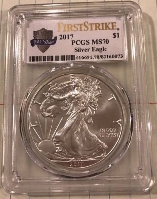 2017 Ms70 Silver American Eagle $1 Pcgs First Strike 225th Anniversary Label Gem photo