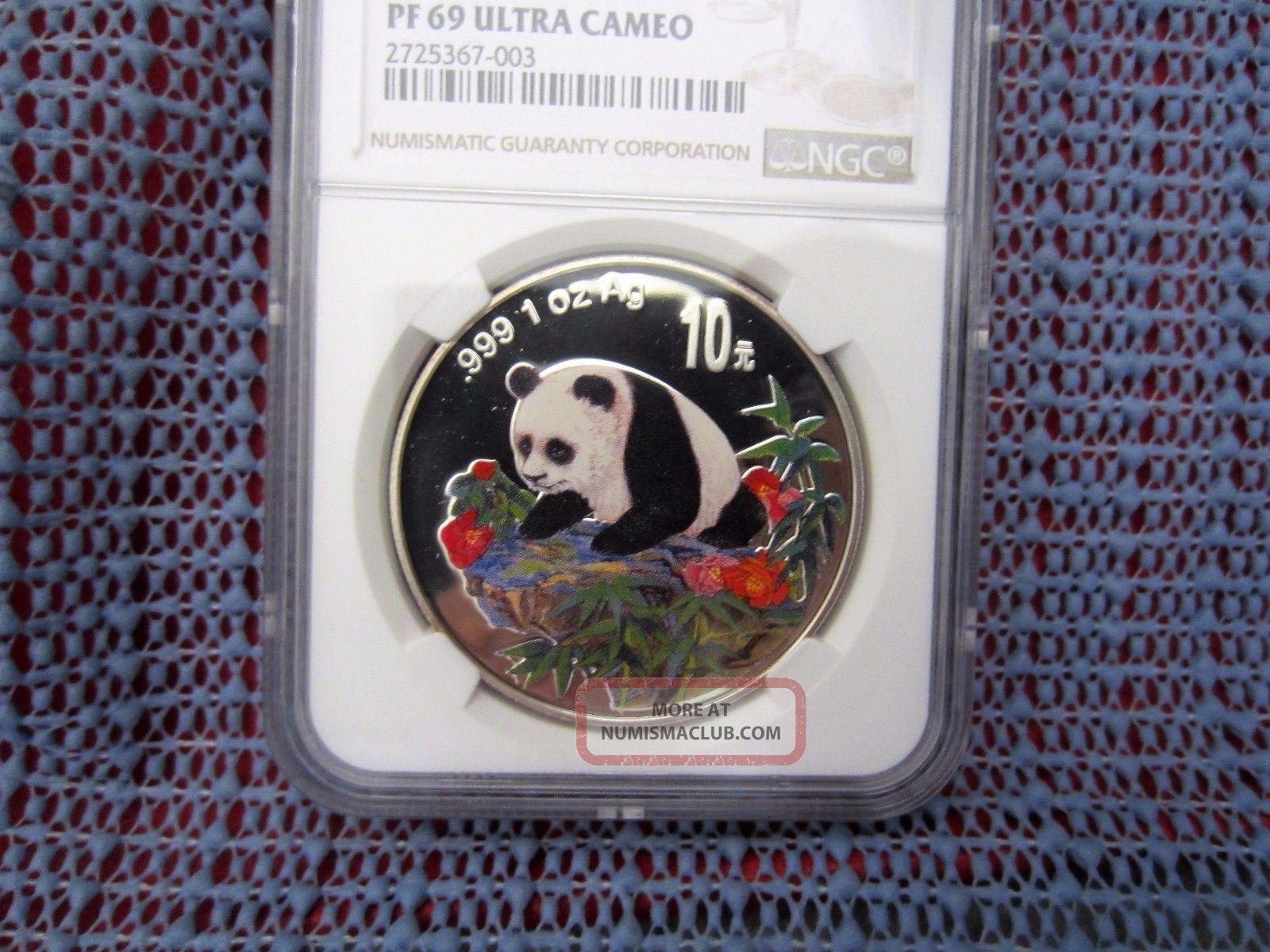 1999 China Panda 10 Yuan 1oz Silver Colorized Ncs / Ngc Pf69uc PRC (1949-Now) photo