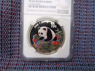 1999 China Panda 10 Yuan 1oz Silver Colorized Ncs / Ngc Pf69uc photo