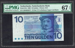 Netherlands 10 Gulden 1968 Frans Hals Pmg Gem Unc 67epq P91 photo