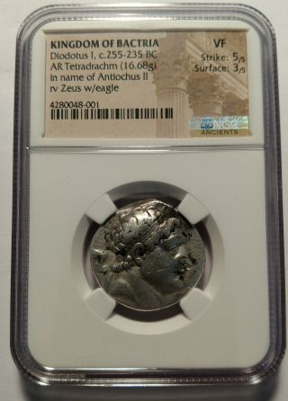 Bactria Diodotus I In The Name Of Antiochus Ii 255 - 235 B.  C.  Tetradrachm Ngc Zeus photo