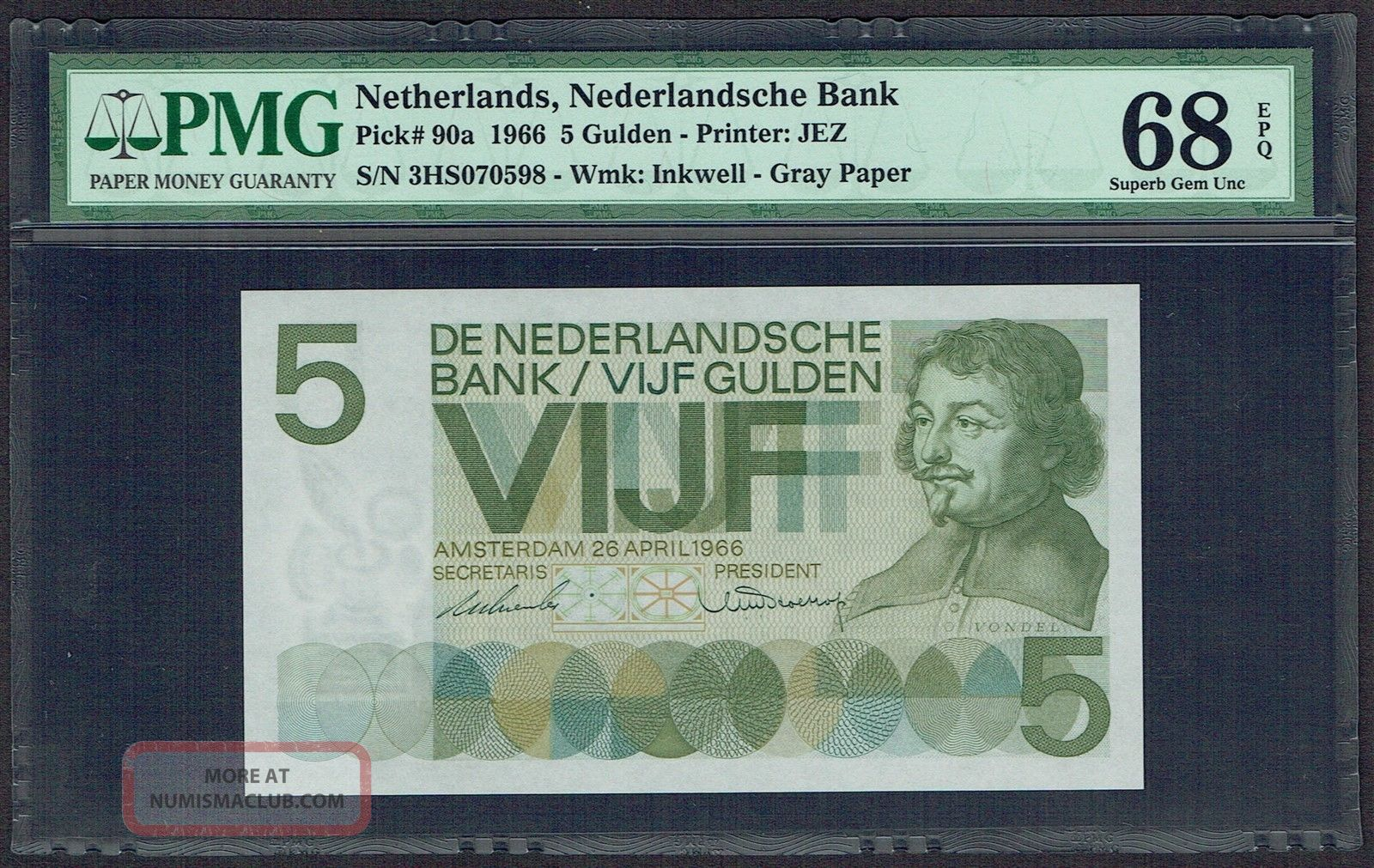Netherlands 5 Gulden 1966 Vondel I Pmg Gem Unc 68epq P90 Europe photo