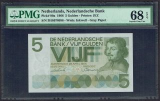 Netherlands 5 Gulden 1966 Vondel I Pmg Gem Unc 68epq P90 photo