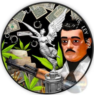 Jesus Malverde Liberty Black Ruthenium 1 Oz Silver Coin Mexico 2016 photo