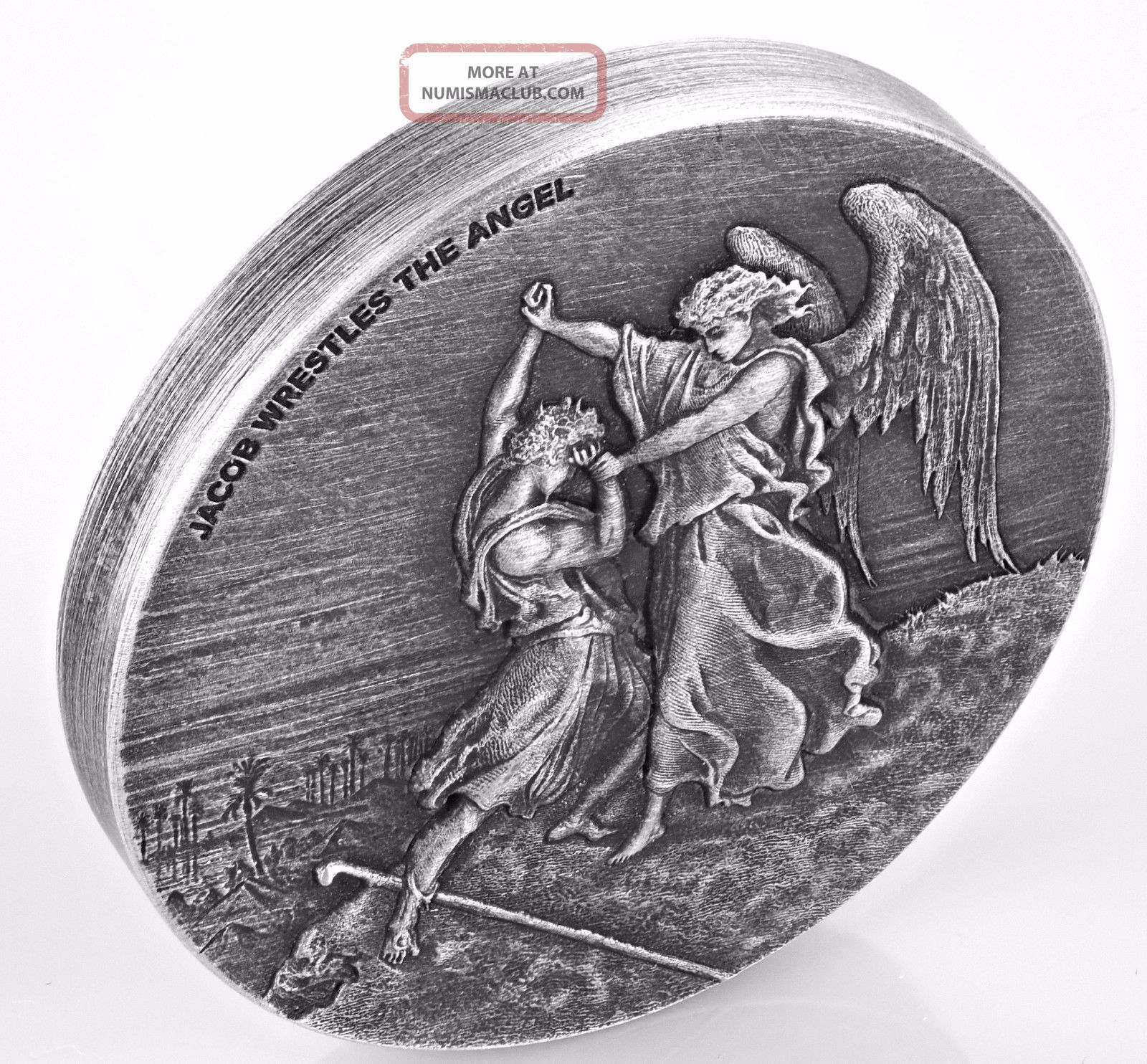 Jacob Wrestles The Angel Biblical Series 2 Oz Silver Coin Niue 2017 Australia & Oceania photo