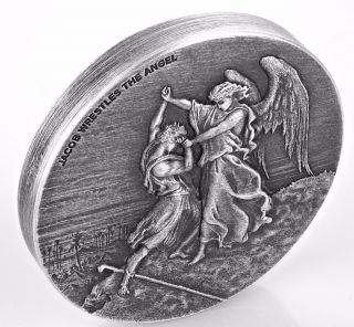 Jacob Wrestles The Angel Biblical Series 2 Oz Silver Coin Niue 2017 photo