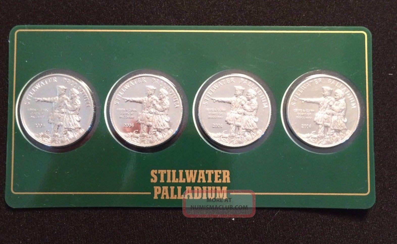 2004 Stillwater 1/4 Oz.  9995 Fine Palladium Lewis & Clark / Buffalo (4 - Pack) Bullion photo