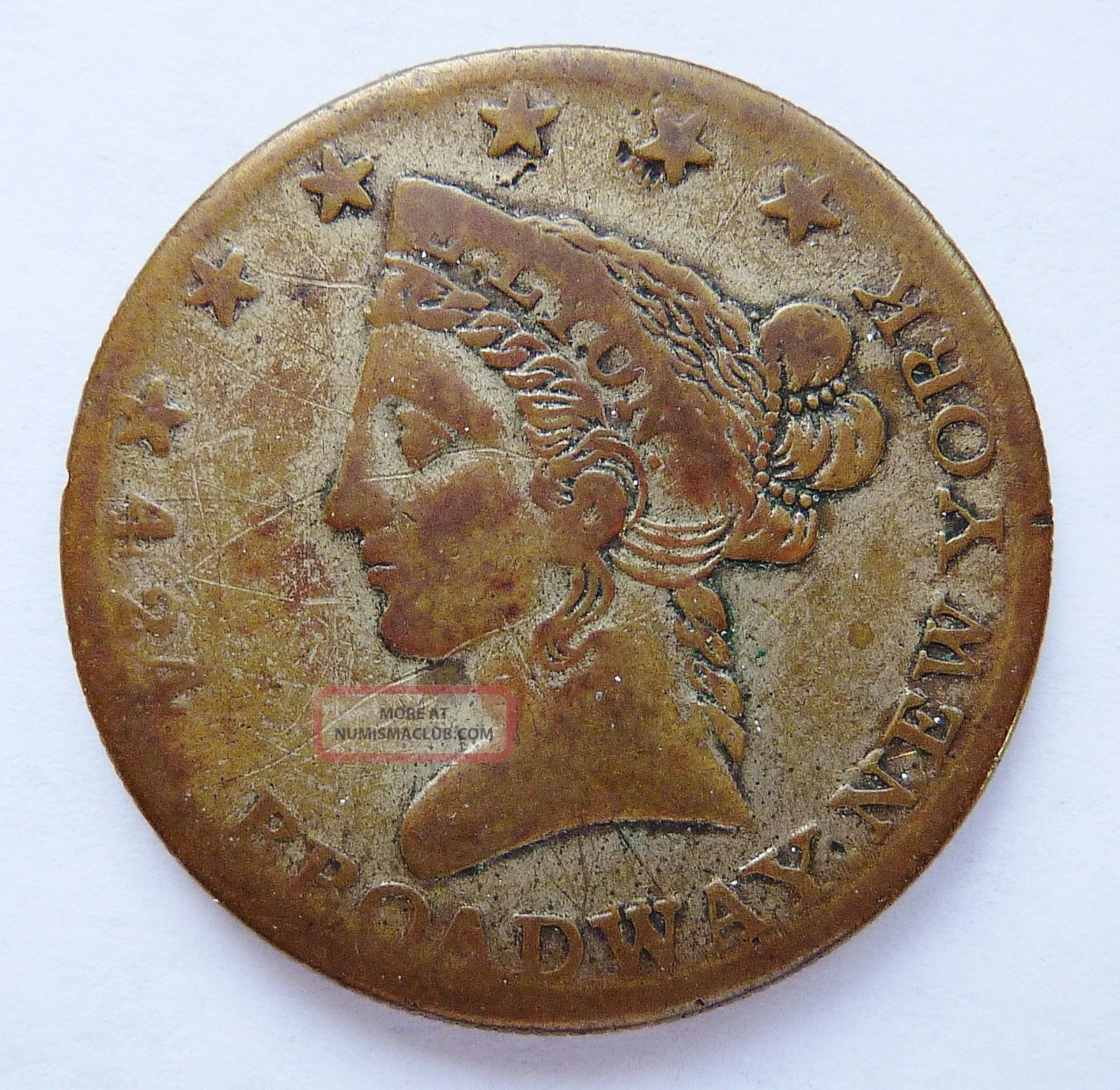 1850 - 59 E.  Lyon - York - Magnetic Powder Merchant / Trade Token 28 - Mm Exonumia photo