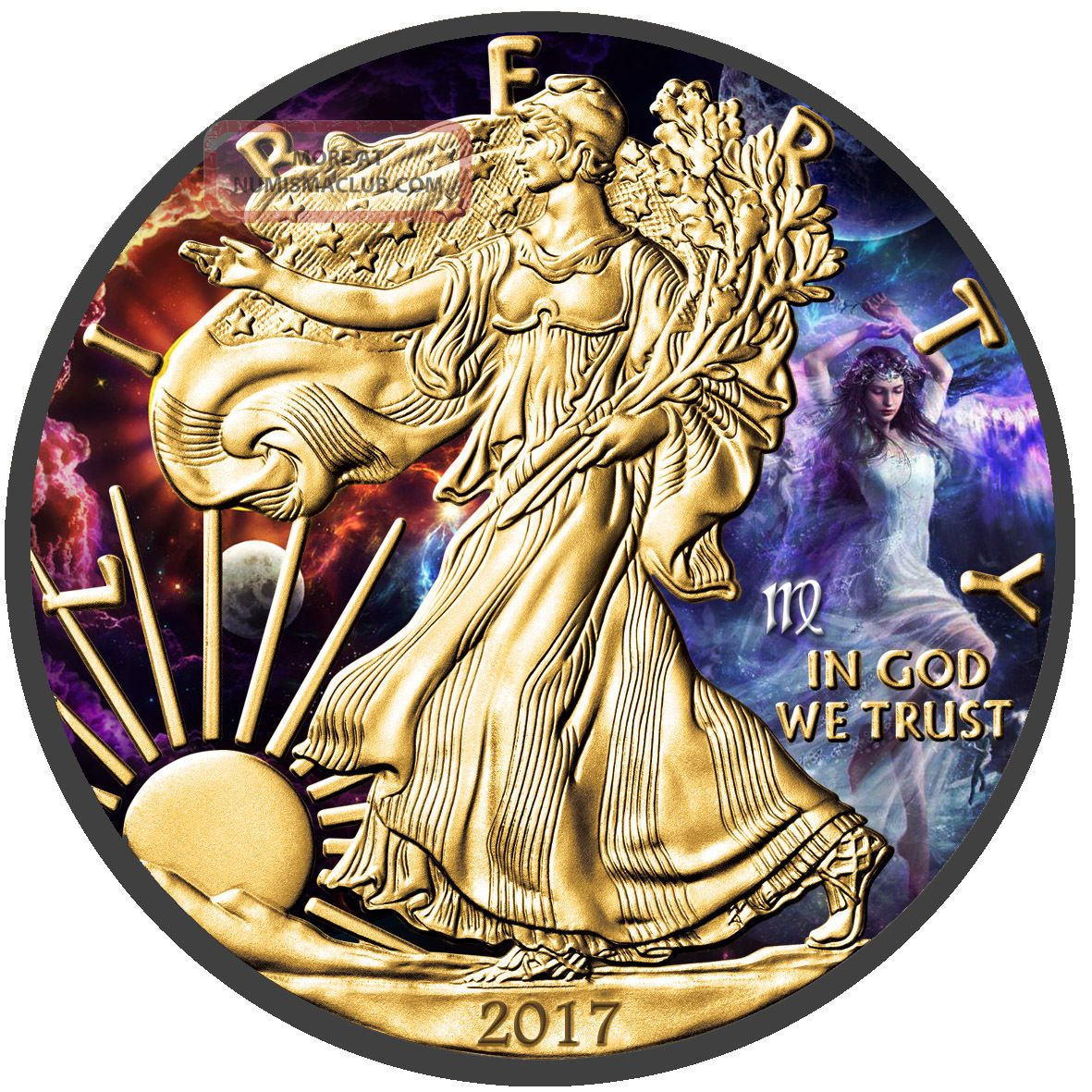 American Silver Eagle 1oz Coin - Zodiac Series: Virgo - Ruthenium And Gold Gilded Exonumia photo
