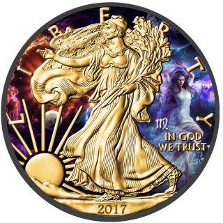 American Silver Eagle 1oz Coin - Zodiac Series: Virgo - Ruthenium And Gold Gilded photo