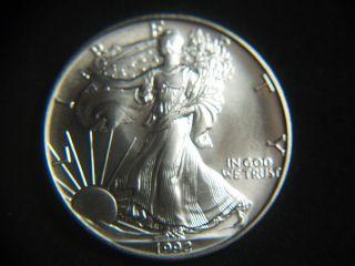 1992 Silver Dollar Coin 1 Troy Oz American Eagle Walking Liberty.  999 Fine photo