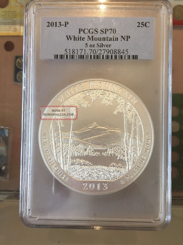 2013 P 5 Oz Silver White Mountain Np America The Pcgs Sp70 Satin Silver photo