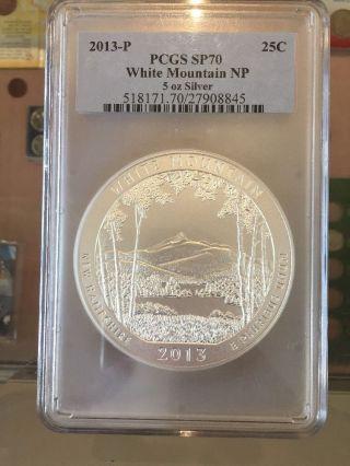 2013 P 5 Oz Silver White Mountain Np America The Pcgs Sp70 Satin photo