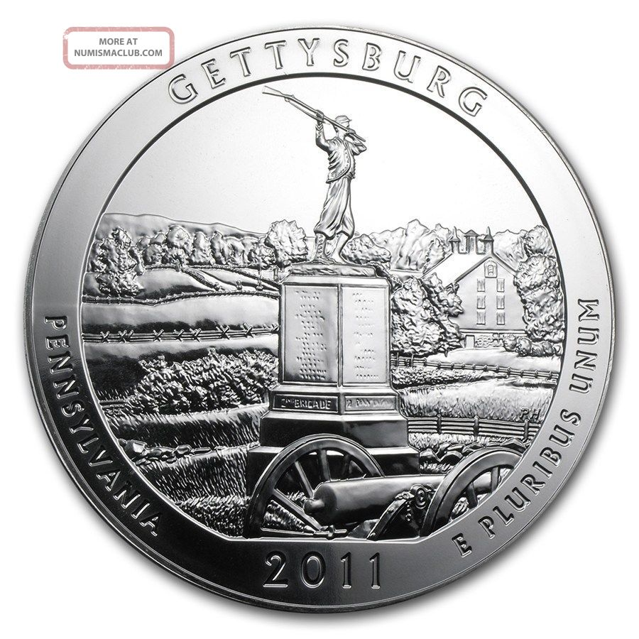 2011 America The Gettysburg 5 Oz.  999 Fine Silver Quarter Coin Capsule Silver photo