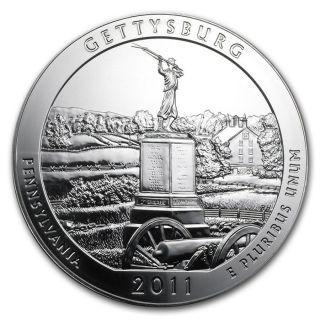 2011 America The Gettysburg 5 Oz.  999 Fine Silver Quarter Coin Capsule photo