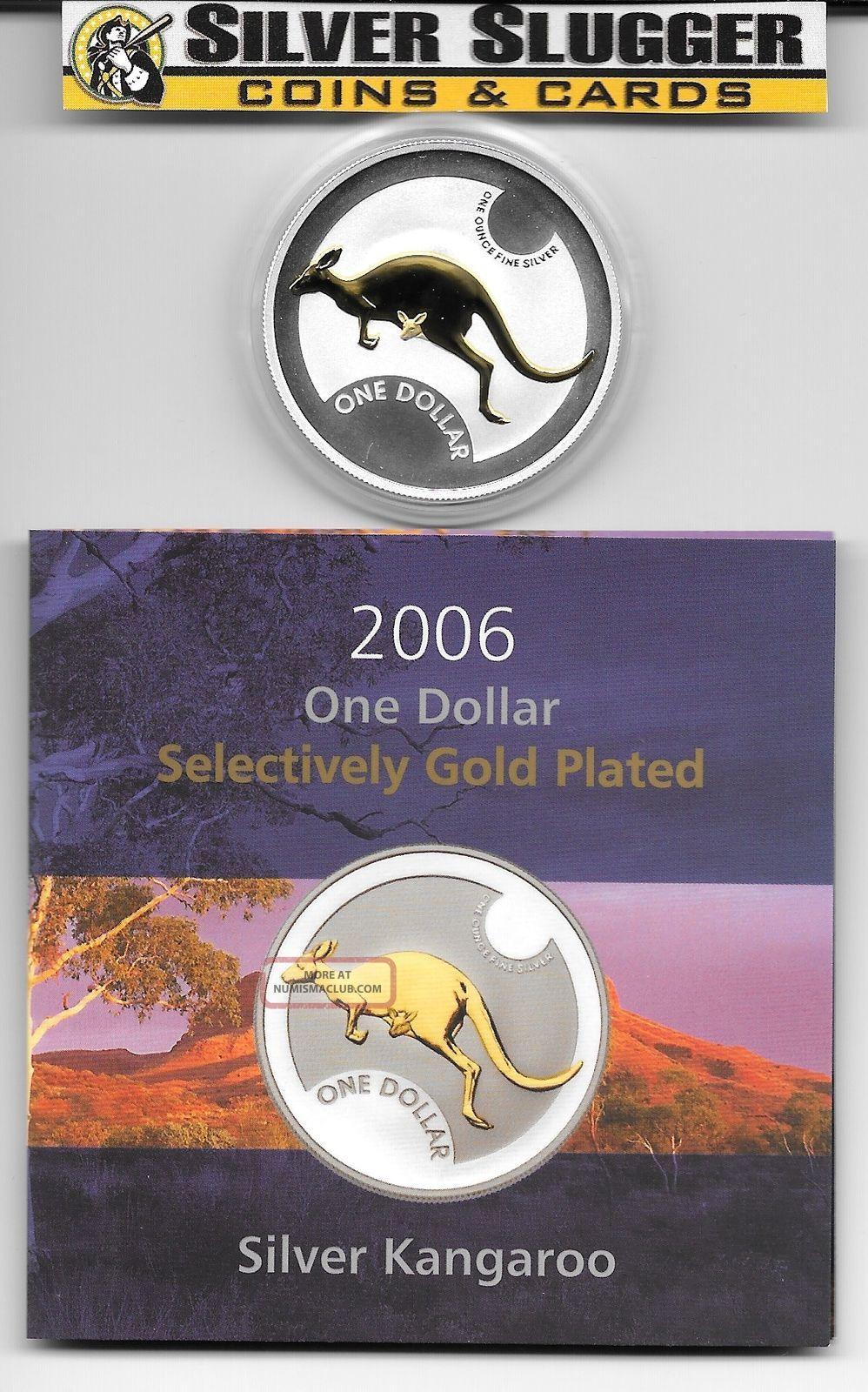 (1) 2006 Australia Kangaroo 1 Oz Silver Gilded Gold Plated Mintage Of 7,  500 Australia photo
