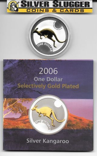(1) 2006 Australia Kangaroo 1 Oz Silver Gilded Gold Plated Mintage Of 7,  500 photo
