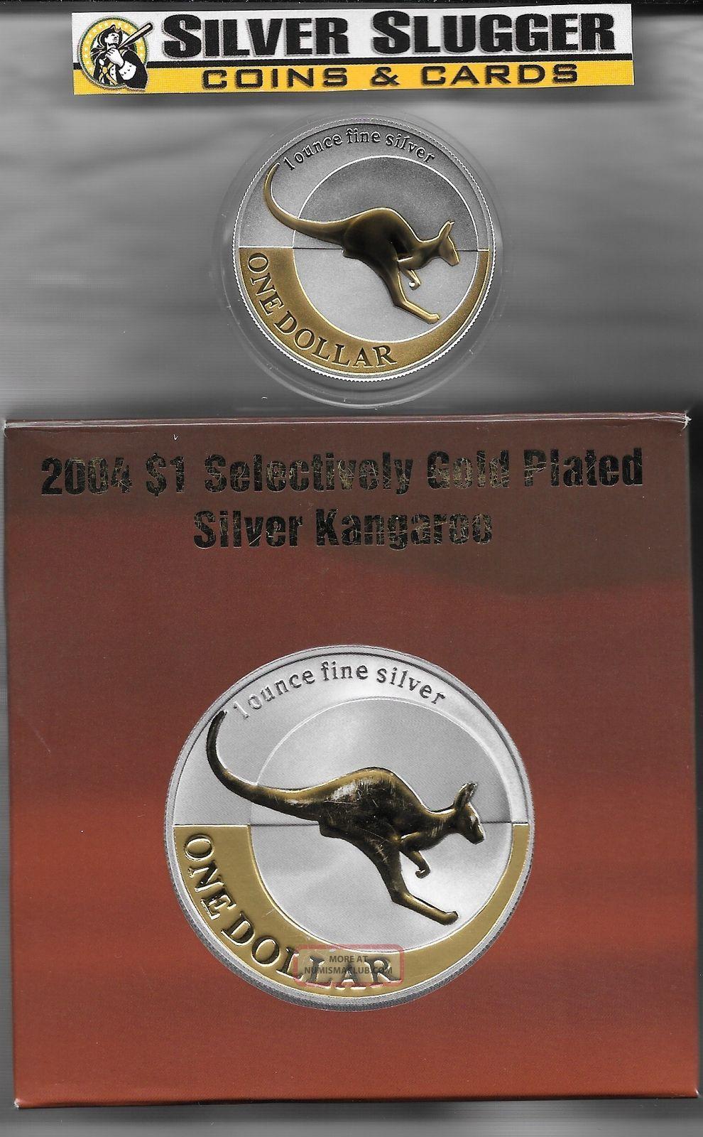 (1) 2004 Australia Kangaroo 1 Oz Silver Gilded Gold Plated Mintage Of 12,  500 Australia photo