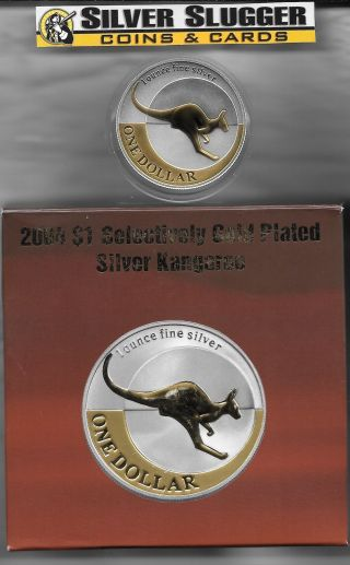 (1) 2004 Australia Kangaroo 1 Oz Silver Gilded Gold Plated Mintage Of 12,  500 photo