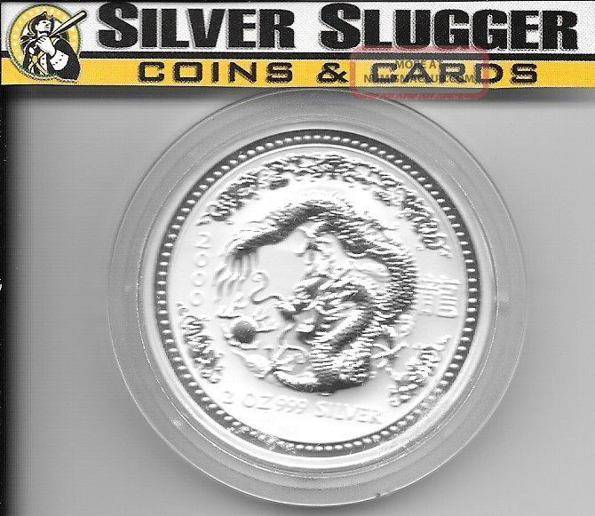 (1) 2000 Australia Lunar Series I Dragon 2 Oz Silver Coin Rare Mintage Of 29,  110 Australia photo