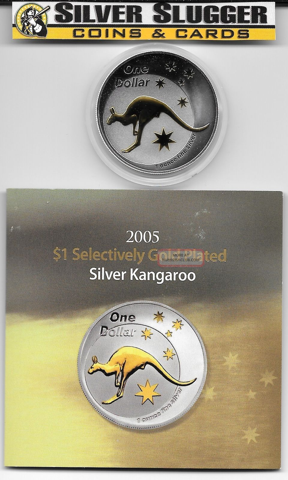 (1) 2005 Australia Kangaroo 1 Oz Silver Gilded Gold Plated Mintage Of 12,  500 Australia photo