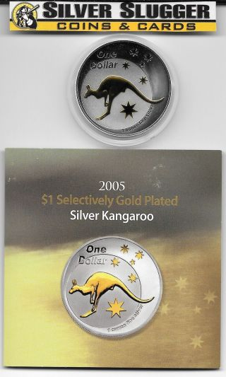 (1) 2005 Australia Kangaroo 1 Oz Silver Gilded Gold Plated Mintage Of 12,  500 photo