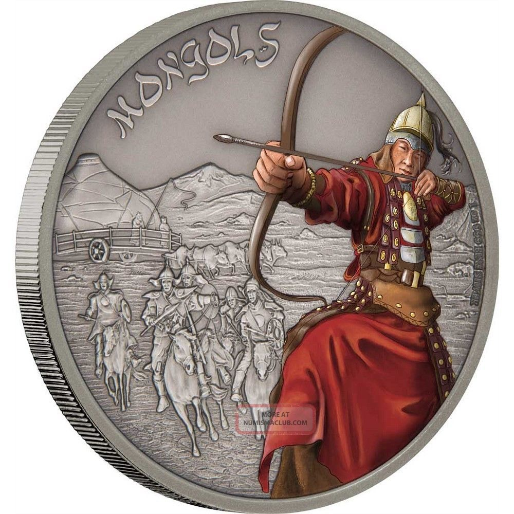 Mongols - Warriors Of History 2017 1 Oz Fine Silver Coin - Niue Australia & Oceania photo
