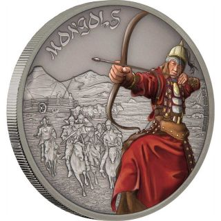 Mongols - Warriors Of History 2017 1 Oz Fine Silver Coin - Niue photo