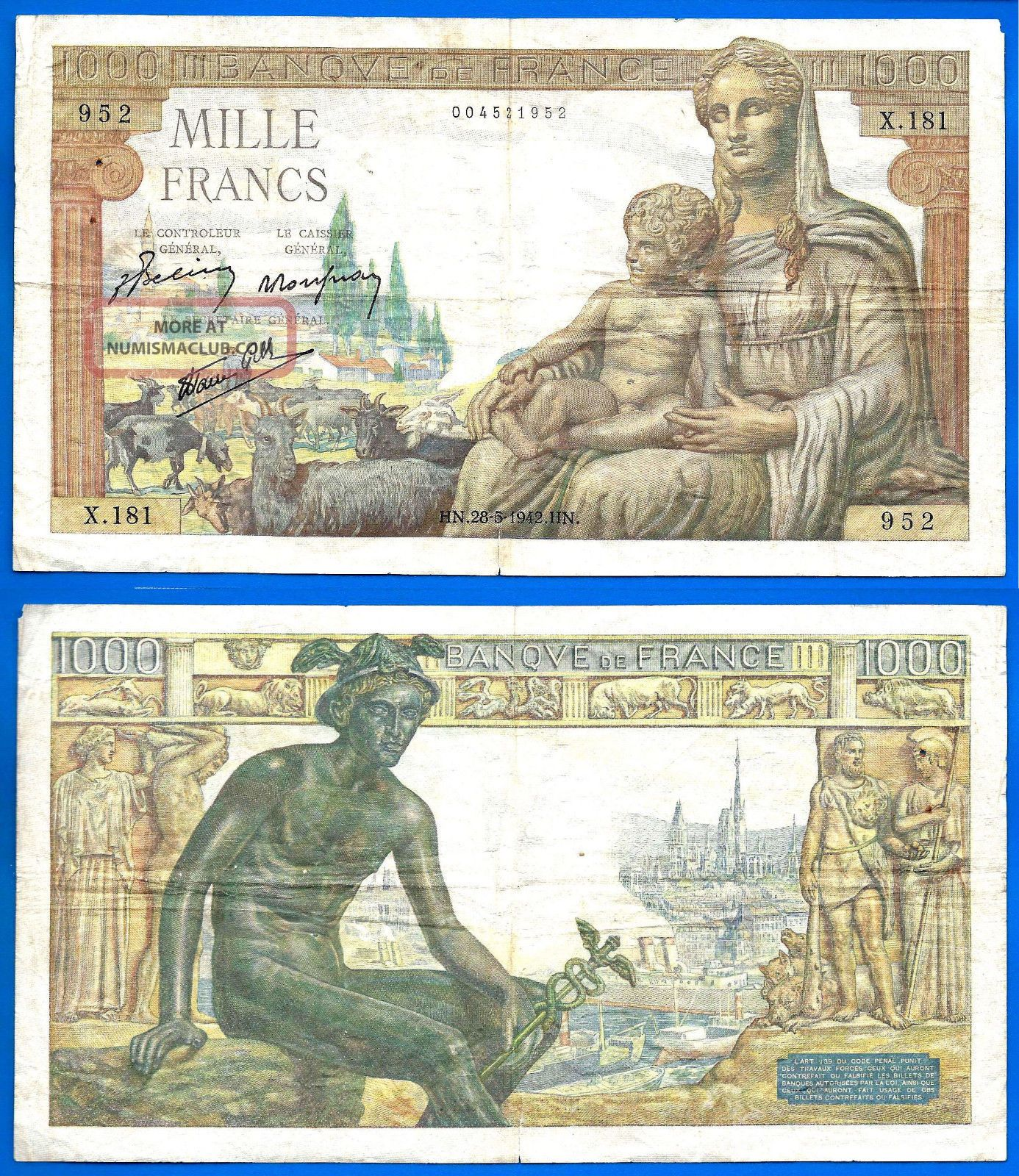 France 1000 Francs 1942 Demeter Serie X Great Bill Europe Frc Frcs Wld Europe photo