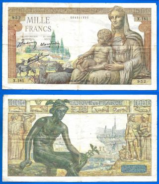 France 1000 Francs 1942 Demeter Serie X Great Bill Europe Frc Frcs Wld photo