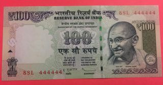 India 100 Rupees Subbharao 2012 Fancy Serial Number 8sl 444444 Unc Note photo