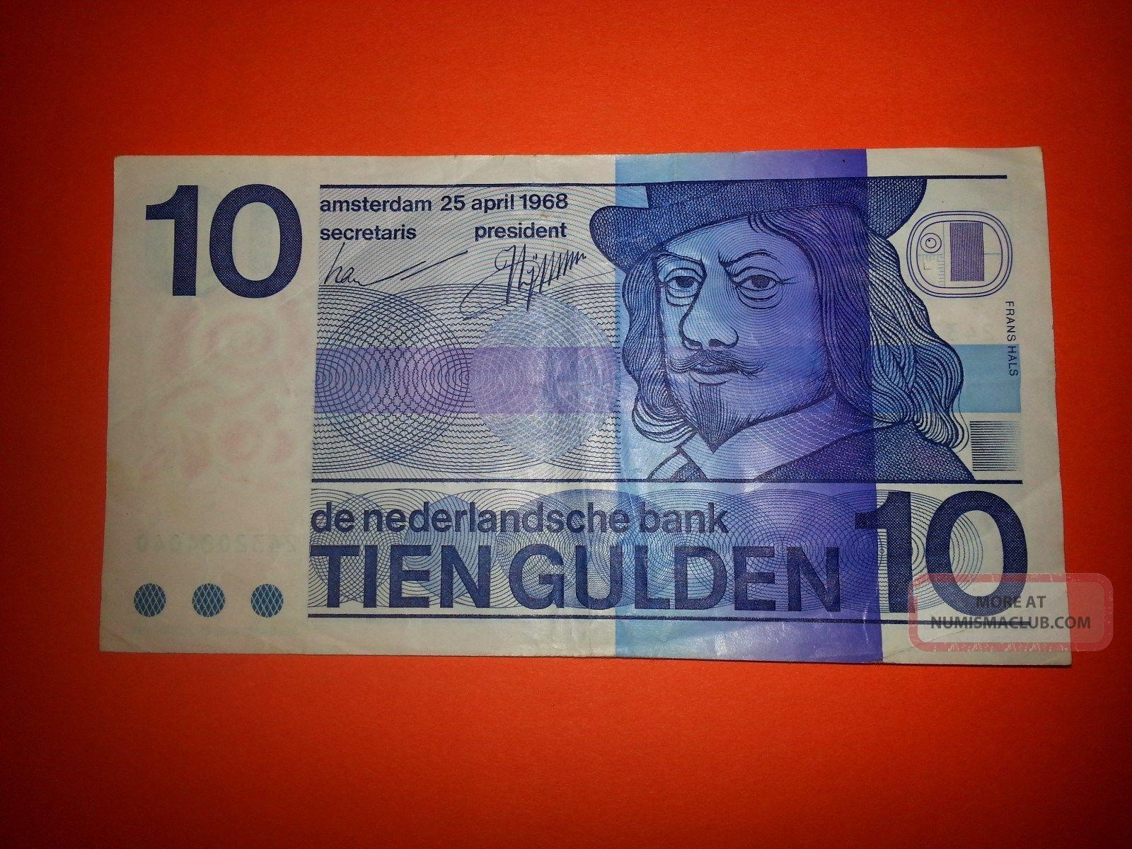 1968 Netherlands 10 Gulden P 91 Amsterdam; Dutch Guilder Europe photo