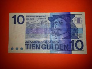 1968 Netherlands 10 Gulden P 91 Amsterdam; Dutch Guilder photo