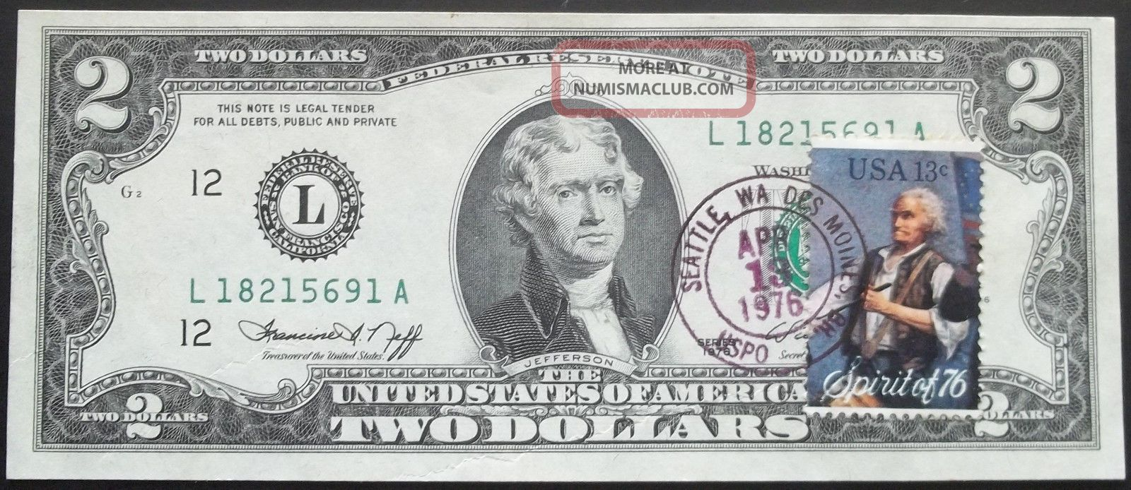 U.  S Error 1976 2 Dollar Note With A Piece Of String In Printing Paper Money: US photo