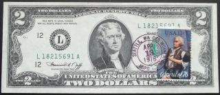 U.  S Error 1976 2 Dollar Note With A Piece Of String In Printing photo