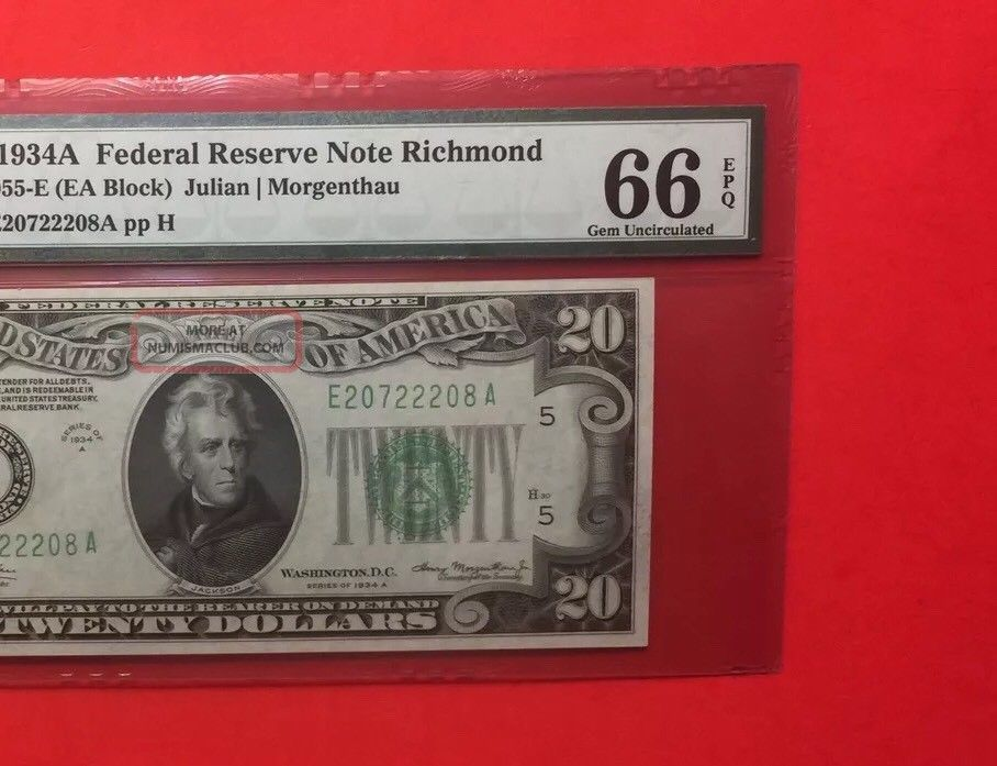 1934 A - Federal Reserve Note $20 Graded By Pmg Gem Unc 66 Epq. Small Size Notes photo