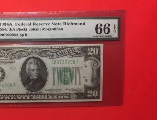 1934 A - Federal Reserve Note $20 Graded By Pmg Gem Unc 66 Epq. photo