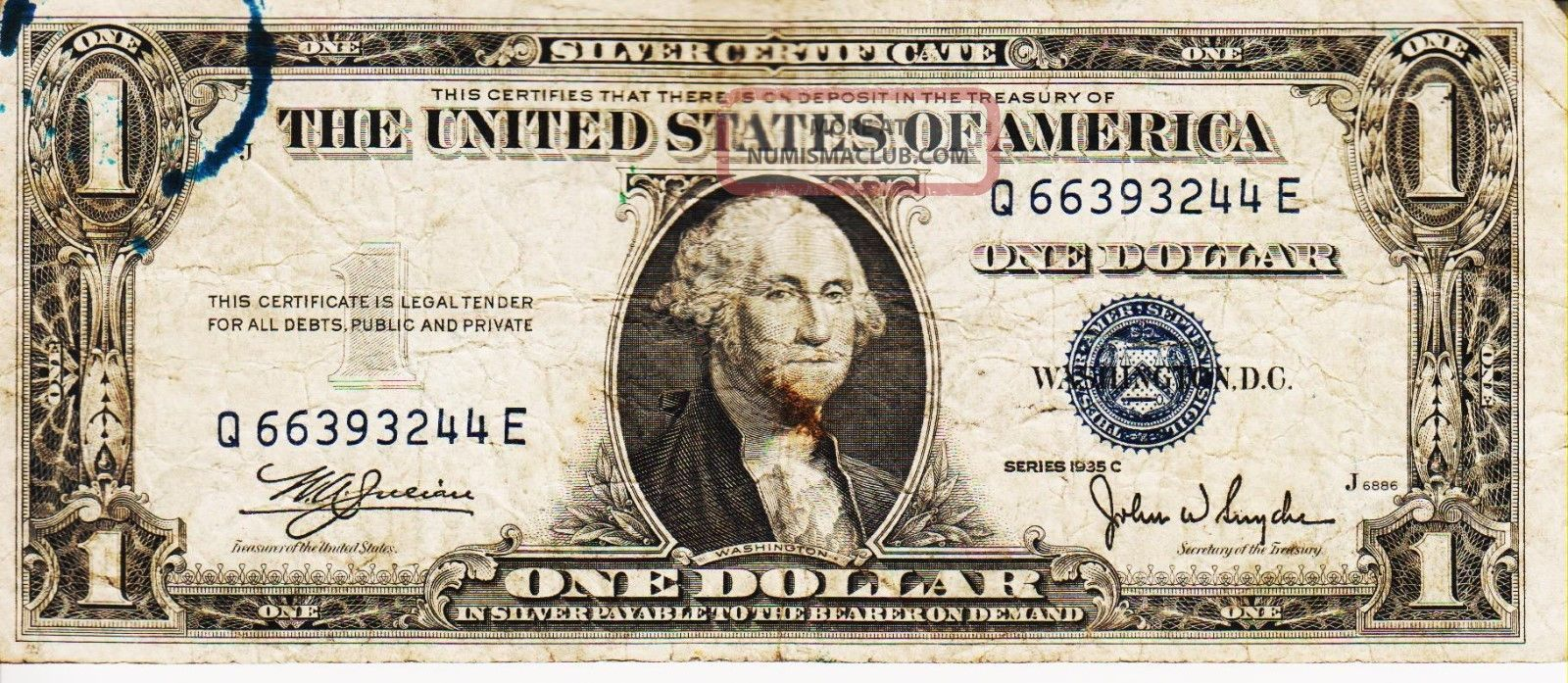 Series 1935 C One Dollar Silver Certificate==fair Small Size Notes photo
