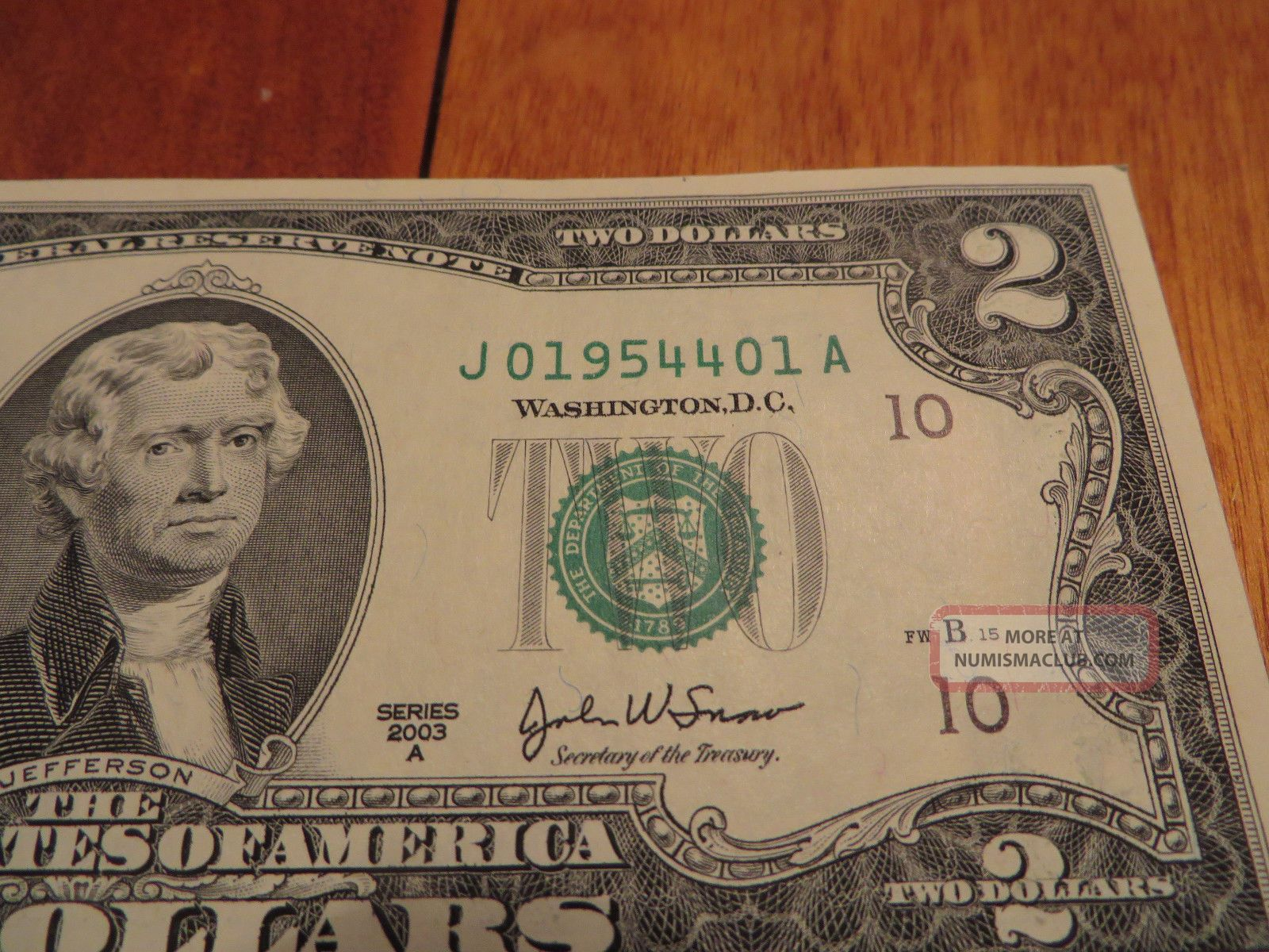 "Us ""birthday"" $2 Dollar Bill April 1954 Serial Number ""j019544xxa"" Small Size Notes photo"