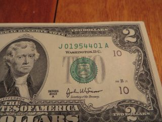 "Us ""birthday"" $2 Dollar Bill April 1954 Serial Number ""j019544xxa"" photo"
