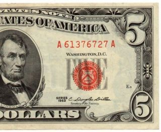 1963 $5 Legal Tender Note - Red Seal - About Uncirculated - Fr 1536 - 829 photo
