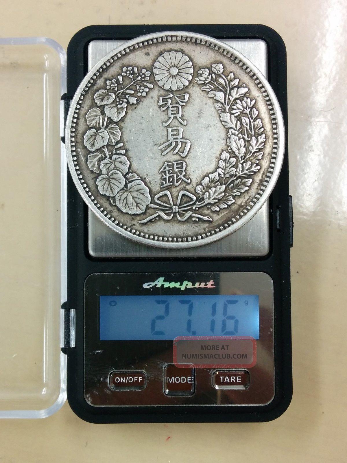 Japan Meiji 1en Silver Coin 1876 Year Meiji 9nen Trade Dollar 81 Asia photo