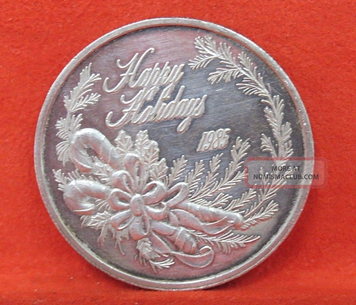 1985 Happy Holidays One Troy Ounce 999 Fine Silver 1oz