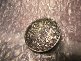 France 1828 - W Lille 5 Franc Silver Coin photo