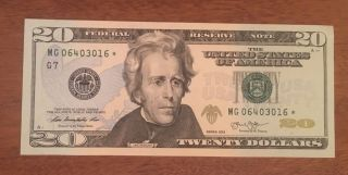 $20 Dollar Star Replacement Note 2013 Chicago Uncirculated Mg 06403016 photo